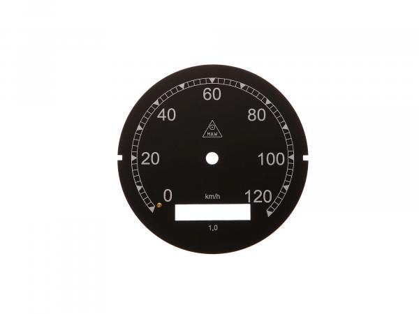 Speedometer dial MAW Aluminium, 0-120km/h suitable for AWO