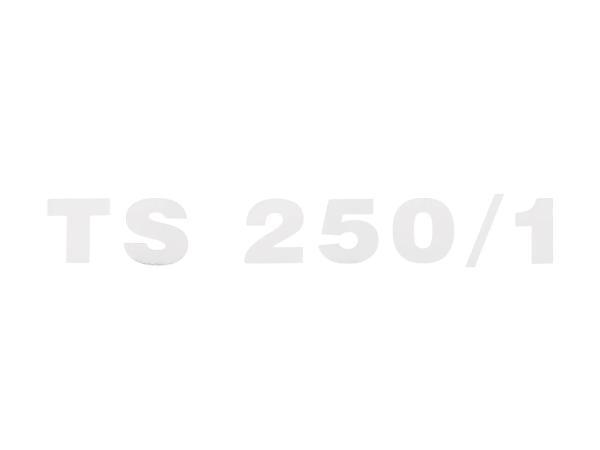"""10067973 Schriftzug (Folie) """"TS 250/1"""" chrom für Seitendeckel - für MZ TS250/1 - Bild 1"""