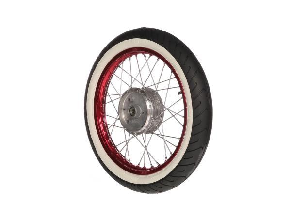 """10069407 Komplettrad vorn, 1,5x16"""" Alufelge rot + Edelstahlspeichen + Weißwandreifen Mitas MC2 - Bild 1"""