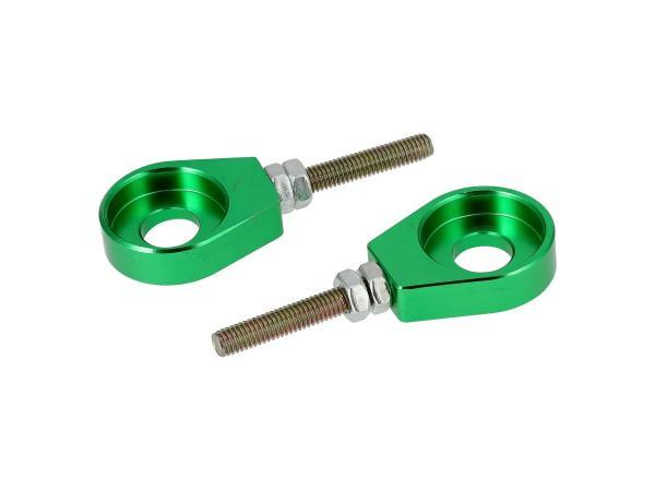 10069427 Set: 2x Kettenspanner für Schwinge, Aluminium Grün eloxiert - Simson S51, S50, SR50, Schwalbe KR51, SR4 - Bild 1