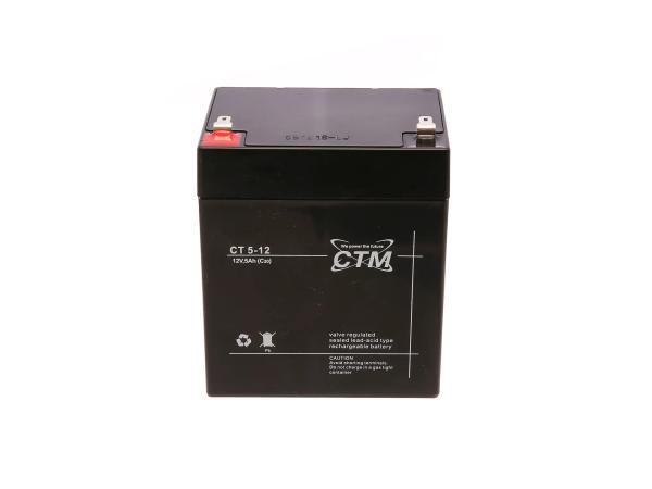 10067066 Batterie - 12V 5Ah CTM (Vlies - wartungsfrei) - für Simson S51, S70 - Bild 1