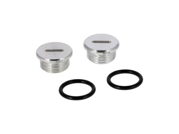 Set: 2x Verschlussschraube Getriebedeckel aus Aluminium mit O-Ringen
