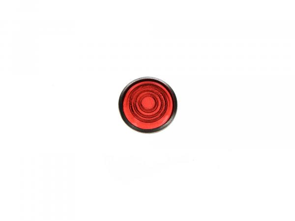 Control glass, red, aluminium socket, Ø16mm - for Simson AWO, MZ RT, BK350, EMWR35