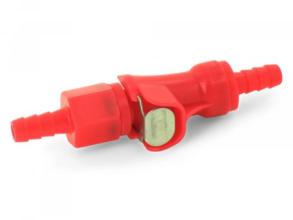 Steckkupplung f. Kraftstoffschlauch - Anschlüsse ø innen 4,7, ø außen 7,3mm - rot - Benzinschlauchkupplung