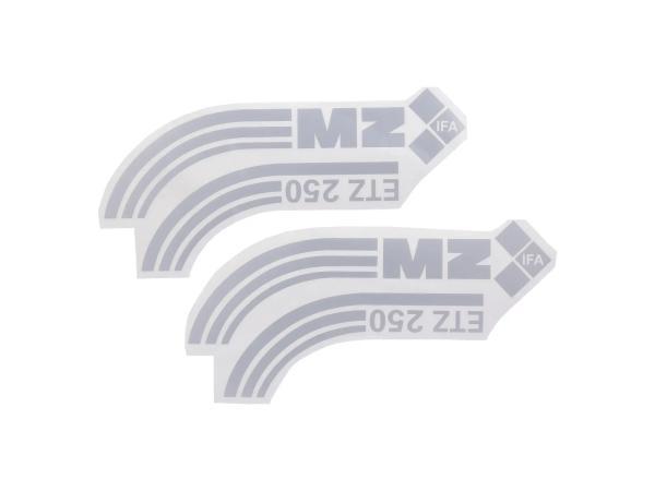 10068772 Set: 2 Schriftzüge (Folie) ETZ 250 geschwungen, silber, made in Germany - Bild 1