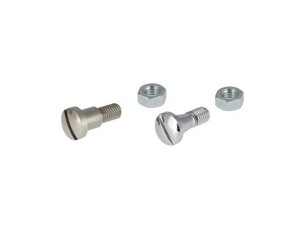 10067844 Set: 2x Schraube mit Mutter verchromt für Hebelaufnahme Kupplungs- und Handbremshebel - für MZ ES175, ES250 - Bild 1