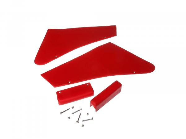Set red side fairing left + right, armrests and mounting parts for armrests sidecar superelastic
