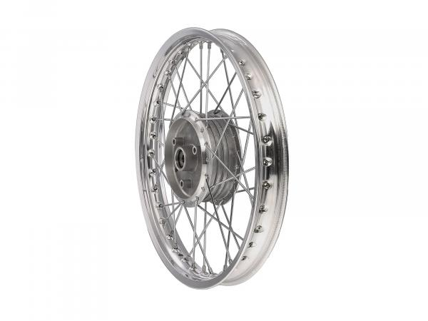 "Spoked wheel 1,5 x 16"" aluminium rim polished + chrome spokes - Simson S50, S51, KR51 Schwalbe, SR4"