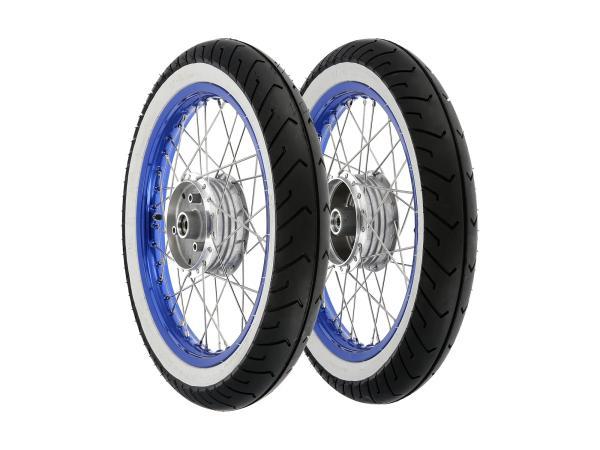 """GP10000650 Set: 2 Kompletträder 1,5x16"""" Alufelge blau + Edelstahlspeichen + Weißwandreifen Mitas MC2 - Bild 1"""