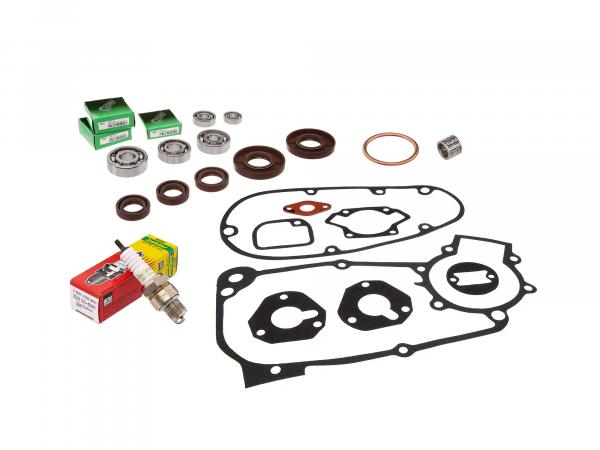 Set: ball bearing, shaft sealing rings (brown), seals, needle bearing, spark plug - for Simson KR51/1 Schwalbe, SR4-2 Star, SR4-3 Sperber, SR4-4 Habicht
