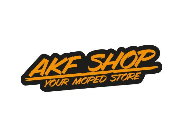 "10070127 Aufkleber - ""AKF Shop - your moped store"" Schwarz/Orange, konturgeschnitten - Bild 1"