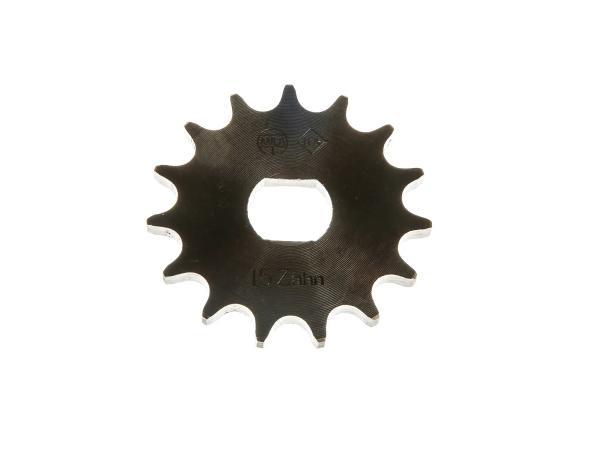 10006199 Ritzel, kleines Kettenrad 15 Zahn - für Simson S51, S53, S70, S83, KR51/2 Schwalbe, SR50, SR80 - Bild 1