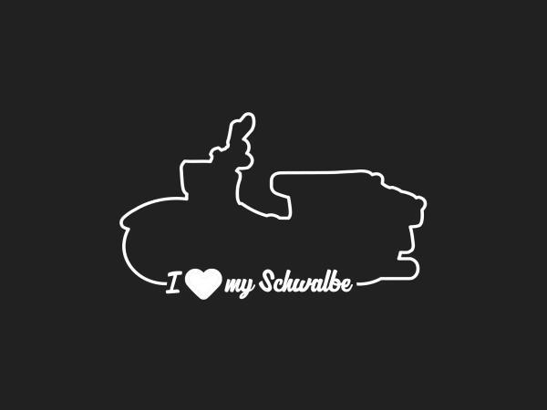 """10069156 Aufkleber - """"I LOVE MY SCHWALBE"""" Folienplot Weiß, mit Übertragungsfolie - Bild 1"""