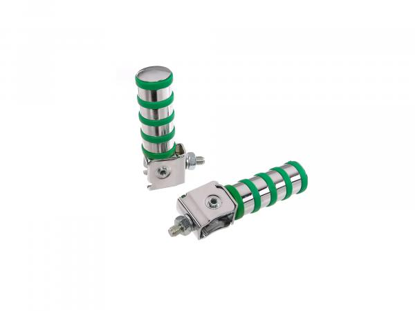 SET Passenger footrest left and right, chrome plated, 4 rings, green, ETZ