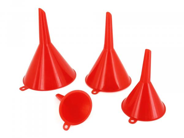 Set: Funnel 4 pieces - different sizes (45/65/90/110 mm) - red