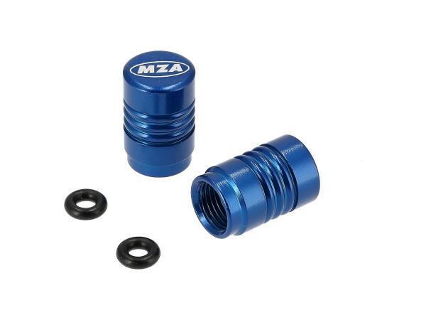 Set: 2x Ventilkappe MZA-Design, Blau eloxiert