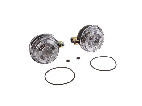 Set: 2 Blinker vorn, rund in Schwarz mit weißem Glas - Simson S50, S51, S70, SR50, SR80, MZ ETZ, TS