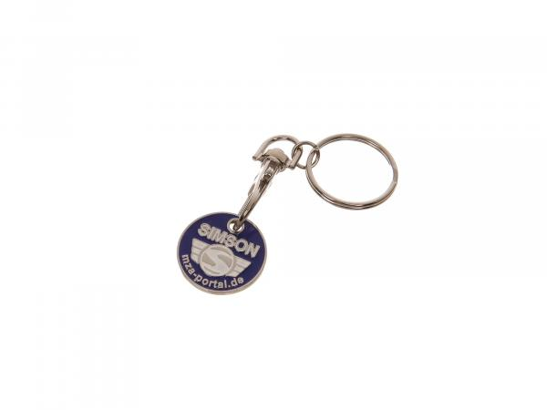 Key fob, metal shopping trolley chip with SIMSON logo, embossed on both sides, incl. ring with snap hook