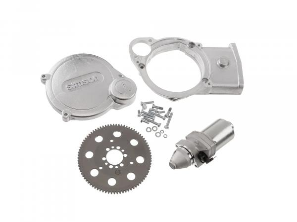Set: Elektrostarter, Anlasser für PVL + EMZA Zündungen, M531, M541, M743 - Simson S51, S70, S53, S83, SR50, SR80, SD50