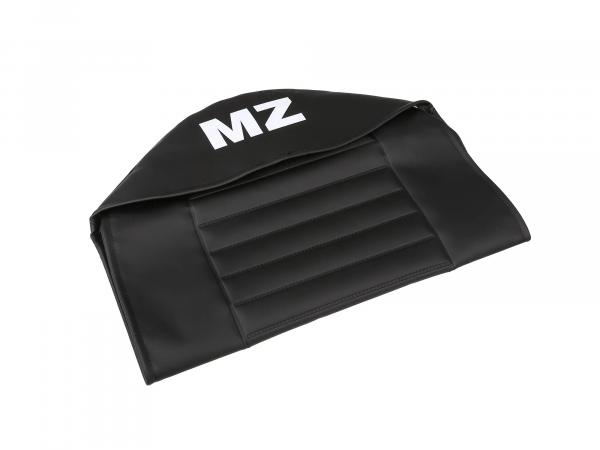 Seat cover structured, black with MZ lettering - for MZ TS125, TS150