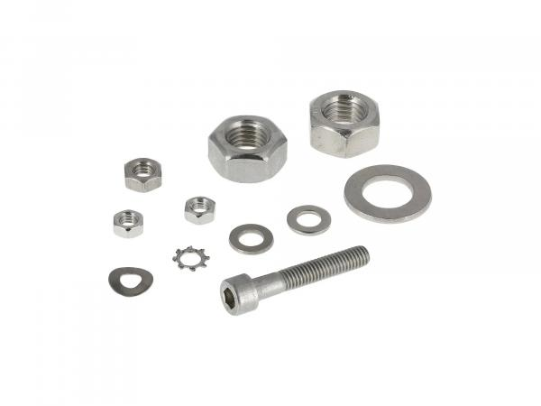 Set: cylinder screws, hexagon socket, nuts, stainless steel washers for front and rear hub, brake lever, brake contact Simson Sperber SR4-3,4