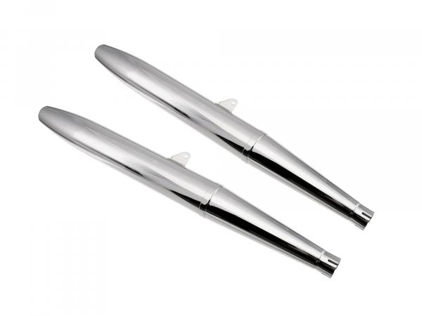 Set: 2x exhaust chrome-plated, can be dismantled in two parts, in cigar form - for BK350