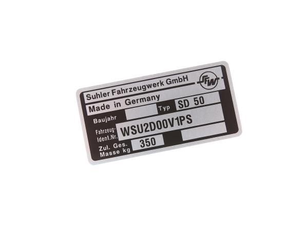 Typenschild SD50 Aluminiumplakette