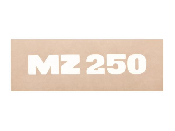 """Schriftzug (Folie) """"MZ 250"""" weiß für Werkzeugkastendeckel/Sitzbank - für MZ TS250, ETS250"""