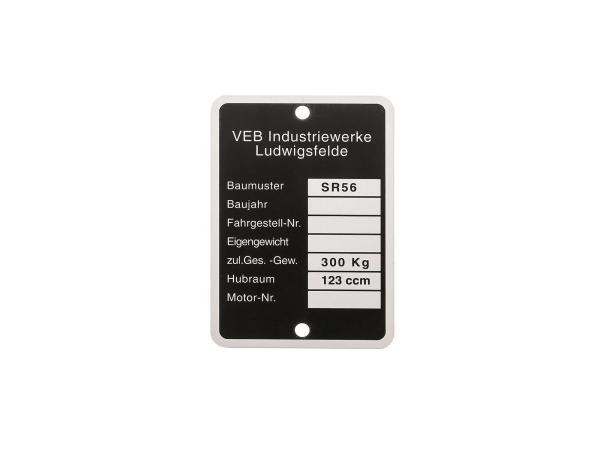 Type plate (aluminium frame badge) - for IWL SR56 Wiesel