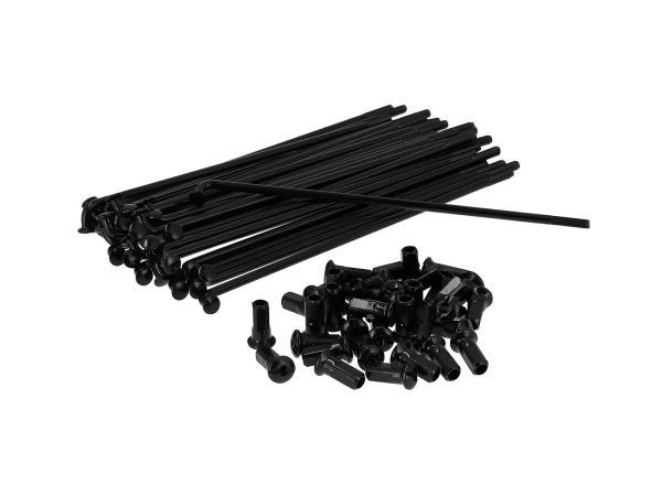 10070489 Set: Speichen mit Nippel - 143,5mm M4 in Schwarz, für 16Zoll - für Simson S50, S51, S70, KR51 Schwalbe, SR4 Vogelserie - Bild 1