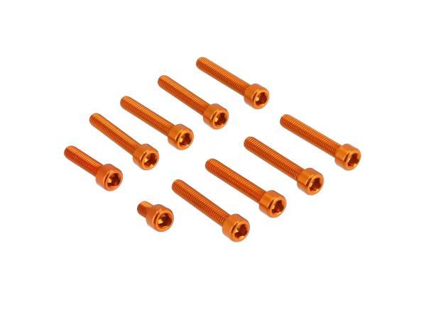 10070566 Set: Aluminium-Schrauben, Innensechskant in Orange für Kupplungs- und Lichtmaschinendeckel Motor S51 - Bild 1