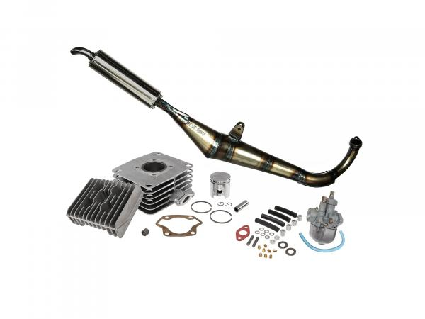 Set: Profi-Tuning 70ccm, 2-channel cylinder/piston/head + BVF19N1 + Reso exhaust 32mm - for Simson S70, S83, SR80