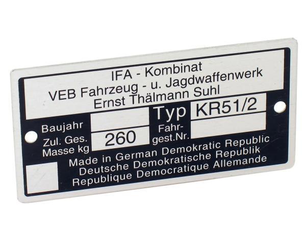 Typenschild KR51/2 Aluminiumplakette