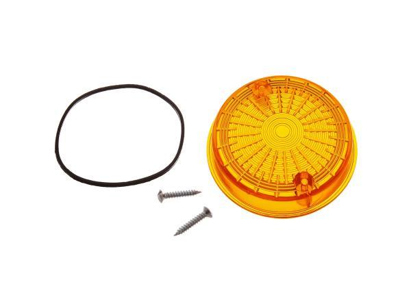 Blinkerkappe hinten, rund, orange inkl. Gummidichtring + Schrauben - Simson S50, S51, S70, SR50, SR80 - MZ ETZ, TS