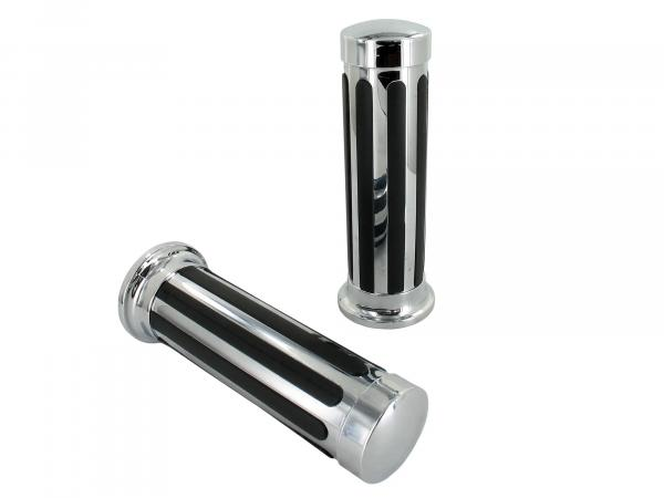 "Set: 2 handles ""Stripe"" chrome/black"