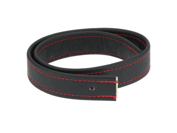 Halteriemen für Sitzbank schwarz mit Ziernaht in Rot - Handarbeit