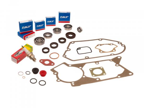 Set: ball bearings, shaft sealing rings (brown), seals, plugs, spark plugs - for Simson S51, S70, S53, S83, KR51/2 Schwalbe, SR50, SR80