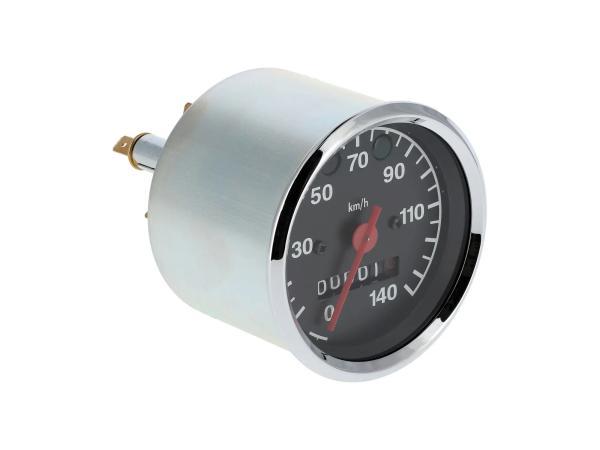 Tachometer bis 140 km/h, Ø80mm, Kontrollleuchten BLAU + GRÜN - für MZ ETZ