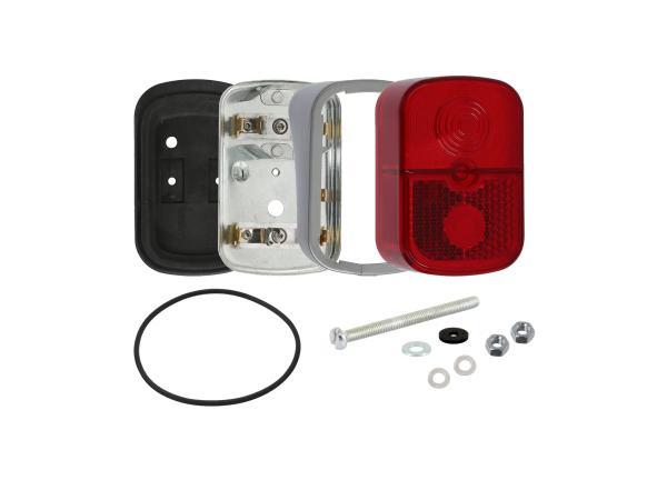 GP10000698 Rücklicht rot, eckig, mit Sockel silber + Befestigungsmaterial - für Simson SR4-1 Spatz, SR4-2 Star, SR4-3 Sperber, SR4-4 Habicht - Bild 1