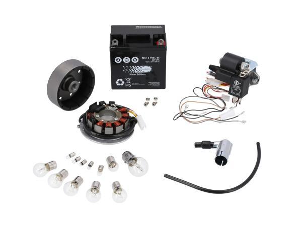 10041117 Set: Umrüstsatz VAPE auf 12V, Magnete vergossen (mit Batterie, Leuchtmittel) - Simson SR50, SR80 - Bild 1