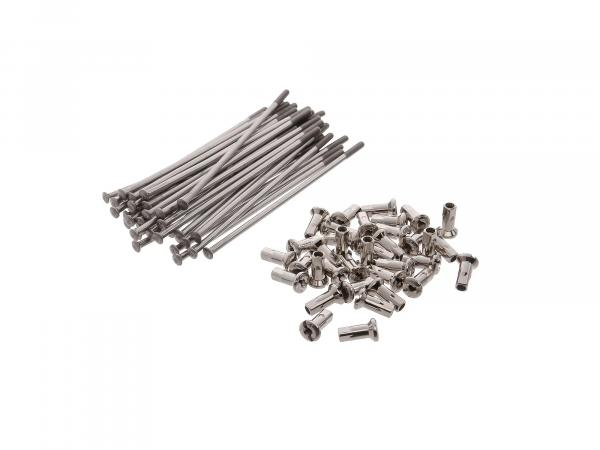 Set: spokes with nipple - 121mm M4 in stainless steel - for MZ ETZ, ES175, ES250, TS250