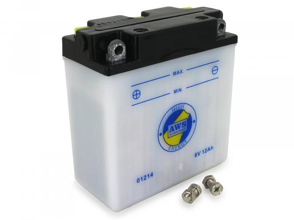 Batterie 6V 12Ah AWS (ohne Säure) - für Simson S50, S51, S70, S53, S83, SR50, SR80