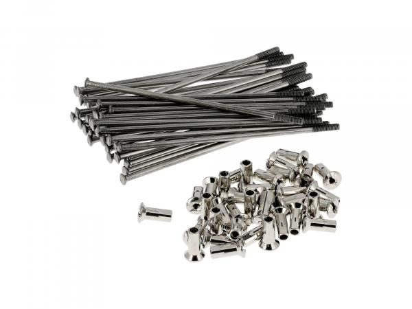 Set: spokes with nipple - 121mm M4 (stainless steel) - for MZ ETZ, ES175, ES250, TS250