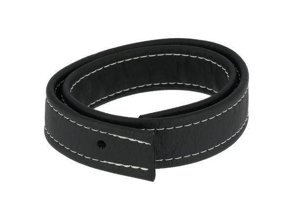 Halteriemen für Sitzbank schwarz mit Ziernaht in Weiß - Handarbeit