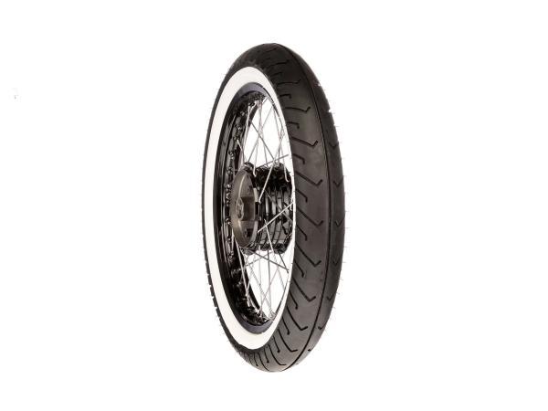 """Komplettrad hinten 1,5x16"""" Alufelge/Nabe schwarz + Edelstahlspeichen + Weißwandreifen Mitas MC2"""