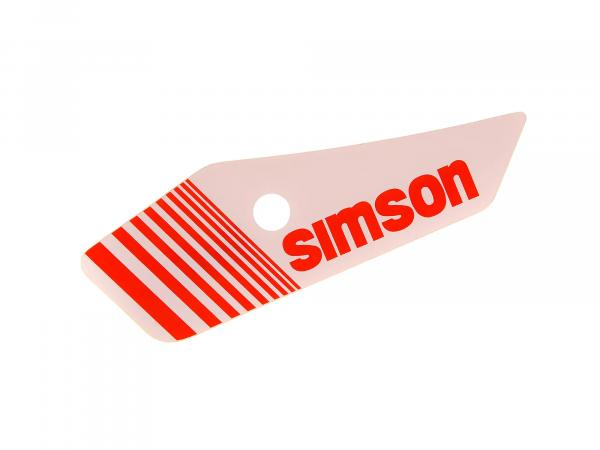 Adhesive foil for side cover, left, white/red - Simson S53, S83