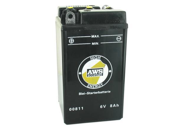 Batterie 6V 8Ah AWS (ohne Säure) ohne Deckel - für MZ ES, RT, BK350, - Simson AWO - IWL Pitty, SR56 Wiesel, SR59 Berlin