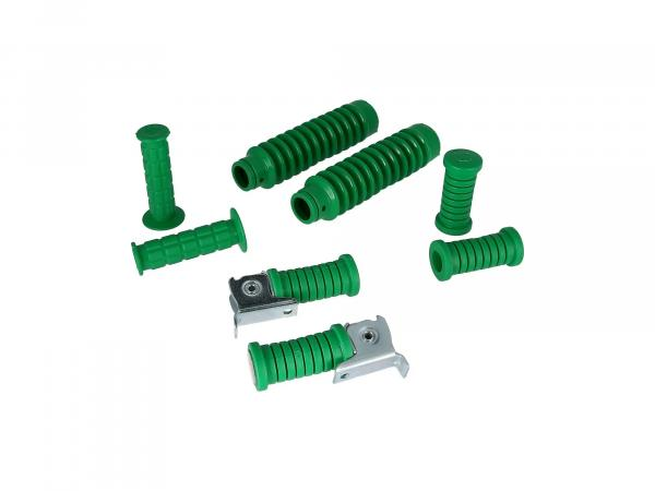 Set: handlebar grips + footrests + bellows in green - for Simson S50, S51, S70, S53, S83