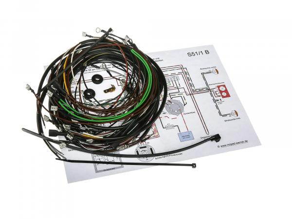 Cable harness set S51/1 B, 12V interrupter ignition with wiring diagram
