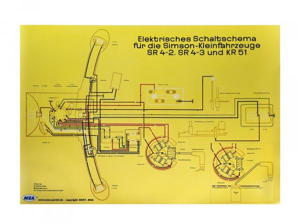 Circuit diagram color poster (72x50cm) Simson Star SR4-2, Sperber SR4-3, Schwalbe KR51